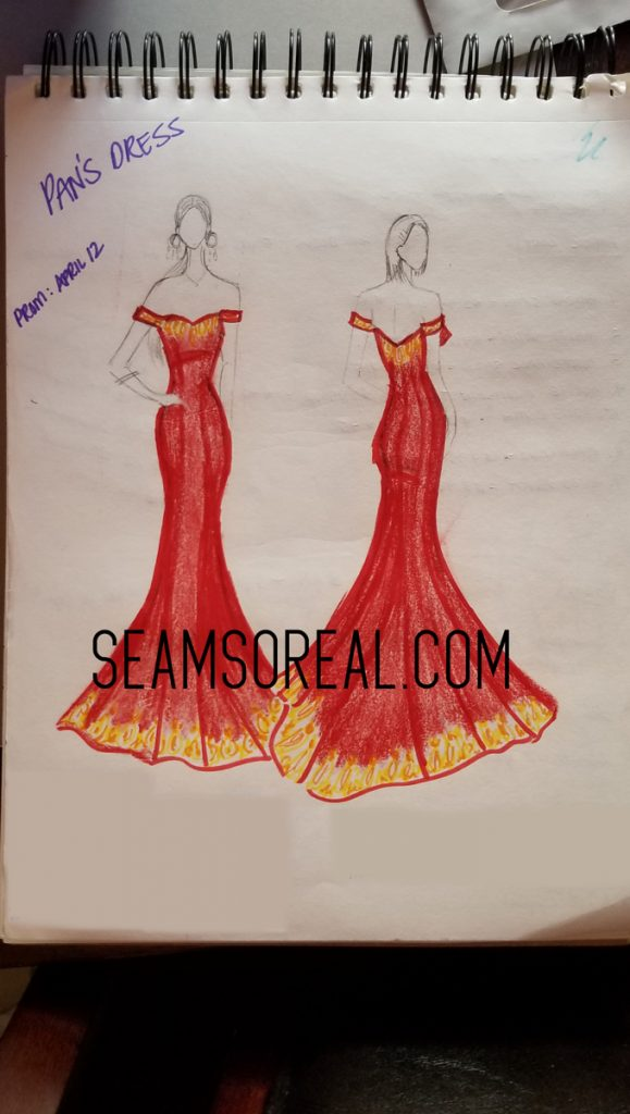 Sketch Of Custom Made Prom Dress
